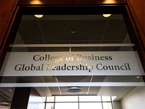 Global Leadership Council meeting room door