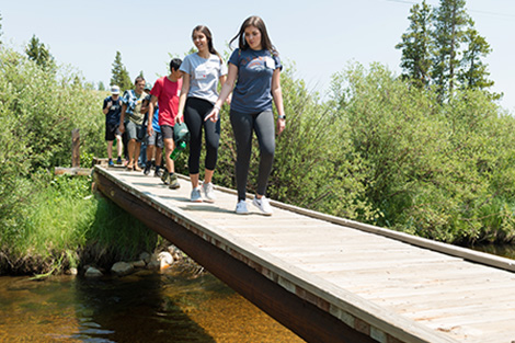 Students crossing bridge