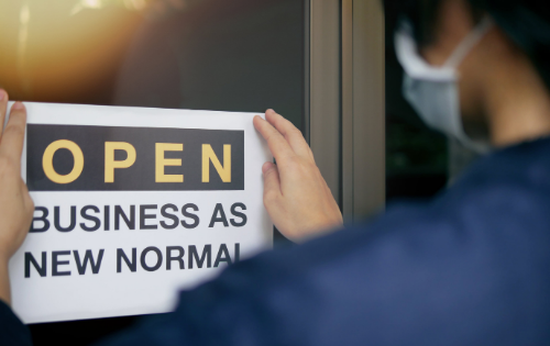 Sign that reads Open Business as New Normal