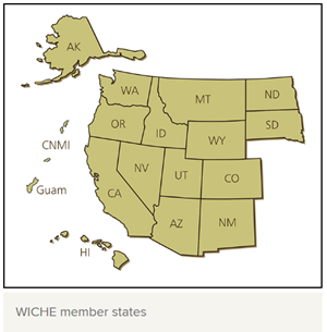 WICHE member states map including Alaska, Hawaii, Washington, Oregon, California, Idaho, Nevada, Montana, Wyoming, Utah, Arizona, Colorado, New Mexico, North Dakota, South Dakota, Guam, CNMI