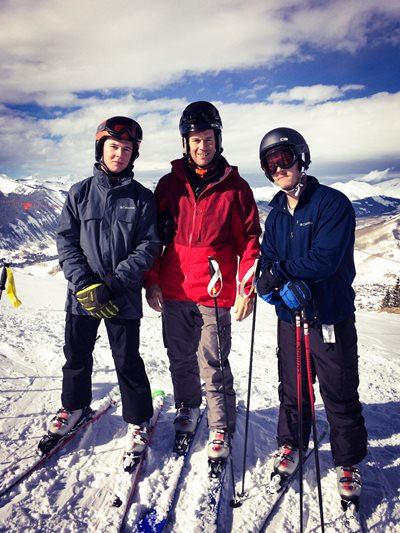 David Wright and his sons ski at Crested Butte